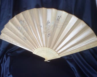 Vintage Japanese Silk Hand Fan with Carved Ivory Ribs