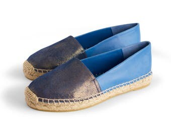 CAMPING MARINE - Espadrille, womens shoes, leather, blue color, flat shoes, jute, Spring Summer, special offer, NOGUERON