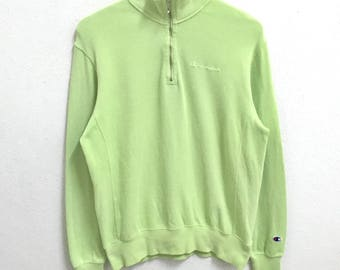 RARE!!! Champion Small Logo Embroidery SpellOut Half Zipper Light Green Colour Sweatshirts Hip Hop Swag M Size