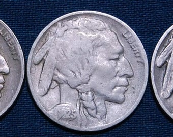 1925, 1925-D, and 1925-S Buffalo Nickels