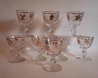 Libbey Goldleaf Decanter & 8 Cordial Glass Set