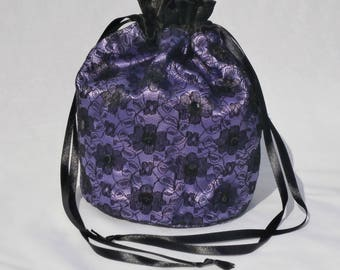 Purple Satin & Black Lace Dolly Evening Handbag Or Purse For Wedding Or Bridesmaid