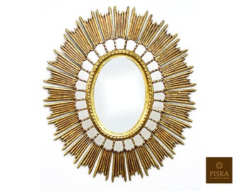 """Large Oval Sunburst Wall Mirror Cuzco Style 30.7"""" x 27.2"""" - Gilded with Gold Leaf"""