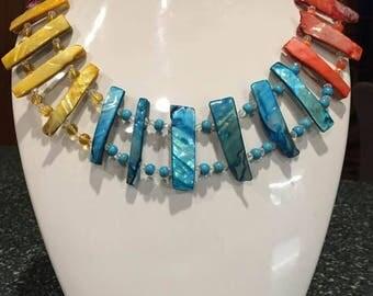 Multi Gemstones Bib Necklace
