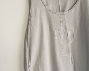 Unisex XL Cactus Embroidered Grey Tank