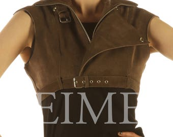 Custom Made Suede Leather High Waisted Short Top Cropped ALESIE