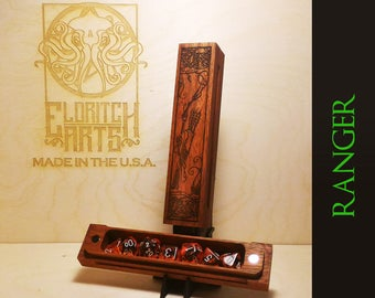 Ranger - RPG Dice Box - Jatoba (Brazilian Cherry)  With Laser Etched Magnetic Lid