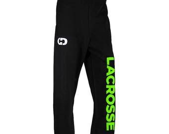 Lacrosse Logo Sweatpants, Black - 6 Logo Colors, Free Shipping! Great Lacrosse Gift!