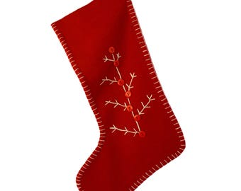 Red embroidered wool felt ltree stocking
