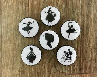1.5 inch black and white vintage people silhouettes decoupaged on dresser drawer cabinet knobs pulls
