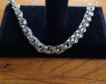 Stainless Steel Double Spiral Chainmaille Bracelet, Stainless Steel Chainmaille Jewelry, Gifts for Her