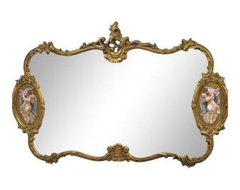 Antique Louis XIV Gilded Large Hanging Wall Mirror Baroque Italian design Rare