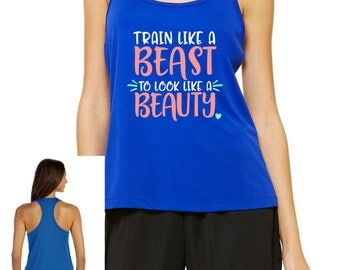 Train Like a Beast Workout Tank, Racerback Tank Top, Performance Tank Top, Fitness Tank, Fitness Top