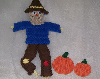Scarecrow and pumpkins magnets