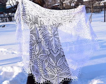 "Hand knit cotton shawl ""Snow white"" knitted in white cotton"