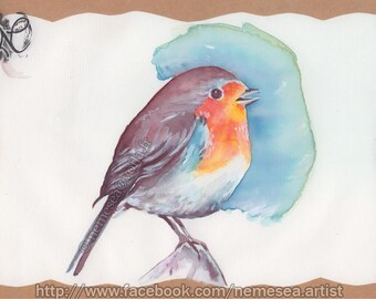 Original watercolor bird rock pond Nature landscape PG98 Paint Bird painting