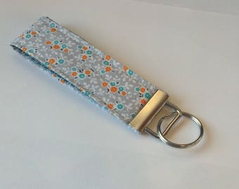 wristlet keychain key fob key ring  fabric keychain women's girls accessories- floral designer fabric