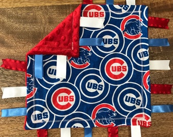 Chicago Cubs Minky Baby Tag Blanket // Security Blanket // Ribbon Blanket // Teething Blanket