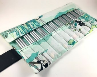 36 Pencil Roll Panda Print, Blue and Green Fabric, Pencil Roll Case, Pencil Wrap, Pencil Holder, Pen Storage, Colored Pencil Roll Up