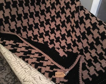 Large Houndstooth Crocheted Afghan