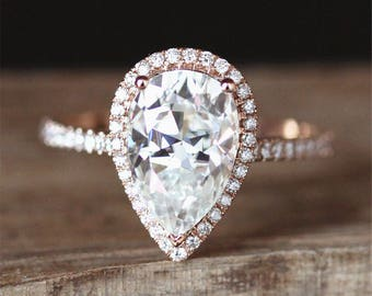 7*10mm Forever One Pear Cut Moissanite Engagement Ring Half Eternity Halo Diamonds Ring 14K Rose Gold Ring Stackable Moissanite Ring