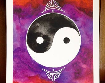 Yin And Yang Watercolour Art Print ~ Yin and Yang Art Gift Nature Buddha Decor Spiritual Yoga Studio Meditation
