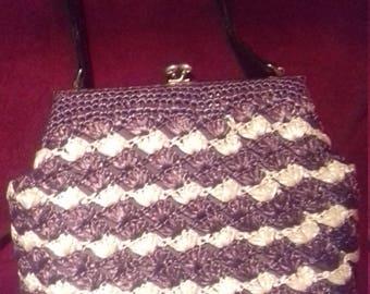 1950s Raffia Vintage ladies Handbag / Raffia Brown Cream  bag