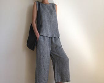 NEW Grey wide leg linen pants /  elastic waist linen trousers