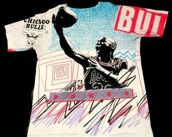 Vintage Michael Jordan Chicago Bulls Tee Shirt Magic Johnson T's All Over Print Size Medium