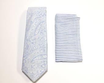 Paisley Tie, Men's Necktie, Pocket Square, Blue tie, Paisley Pattern, Wedding Accessory, Cotton necktie, Suit Accessory, Menswear accessory