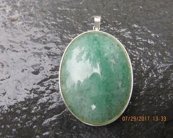 Vintage Sterling Silver Jade Pendant Genuine Jadeite