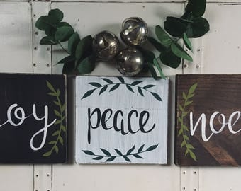 "Hand Painted ""Noel, Joy, Peace"" Sign / Winter Decor / Christmas Decor / Winter Decorations / Christmas Sign /"