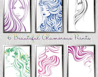 """50% Off ~ 8""""x10"""" ~ 6 Printable Portraits   6PNG - 6EPS   Digitally Illustrated Art   Wall Decor   INSTANT DOWNLOAD"""