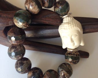 Honeycomb agate bracelet - buddha bracelet- gemstone jewelry-
