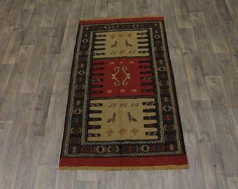 Original Hand Woven Wool Tribal Wool Sumak Persia Rug Oriental Area Carpet 3ʹ4X6