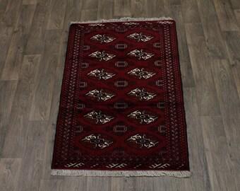 Small Handmade Tribal Turkoman Ghoochan Persian Area Rug Oriental Carpet 3X5