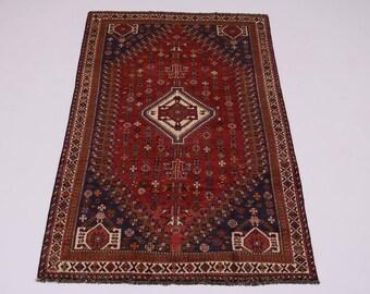 Fantastic Handmade Semi Antique Shiraz Fars Persian Rug Oriental Area Carpet 5X9