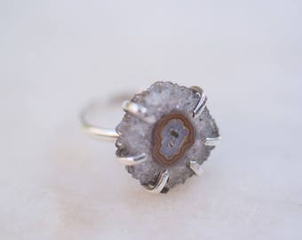 OOAK LILIUM ring amethyst stalactite/brass