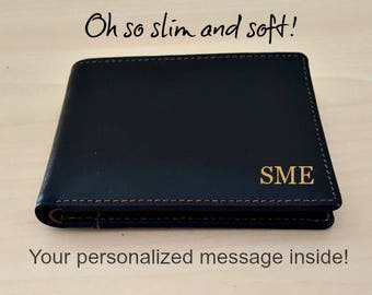 Personalized slim wallet • Confirmation gift • Slim men's wallet • monogram slim wallet • custom slim wallet • black/toffee 7720