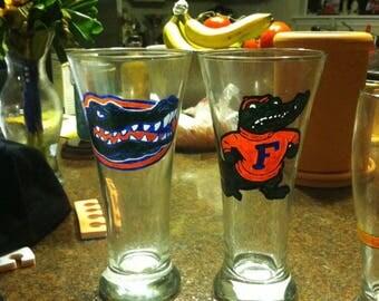 Florida Gators Hand Painted Glasses