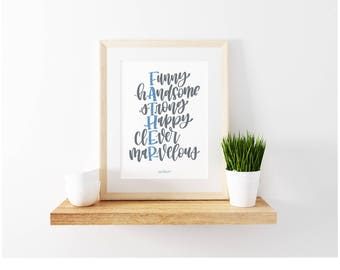 Father - Handlettered Quote - Blue and Gray - Handletter Print - Father's Day