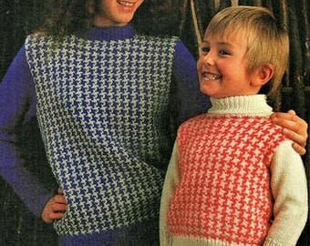 Childrens Houndstooth check sweaters knitting pattern pdf