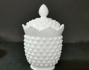Fenton Milk Glass hobnail sugar bowl with lid.