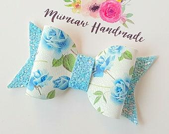 Blue Floral Faux Leather Hair Bow, Nylon headband, Hair clip,  You Choose Headband or Clip
