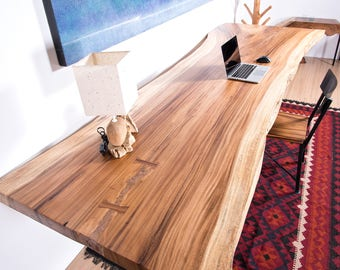 Live Edge Table | Natural Dining Table | Seats 8 | Custom Shipping Crate  Included