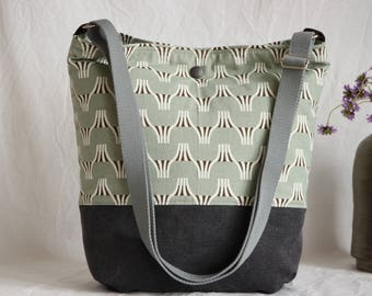 Shoulder bag grey canvas and cotton, Canvastasche, canvas bag, bag