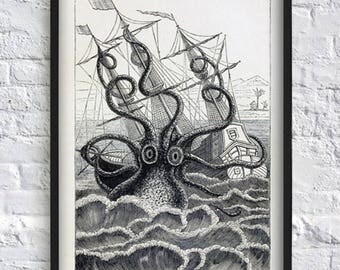 Octopus Print - Sea Monster - Nautical Decor - Wall Art Print - Antique Illustration - Octopus Poster - Black and White 8x12 12x16