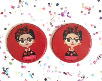 Frida kahlo coasters, coaster set, Frida kahlo gift, mexican coasters, Frida kahlo artwork, Mexican folk art, Fiesta decorations