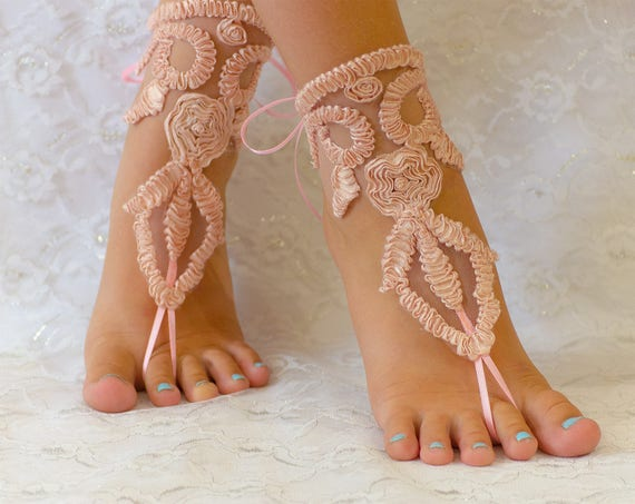 Beach wedding barefoot sandals Pink Peach, barefoot sandles, wedding barefoot sandals lace barefoot sandals