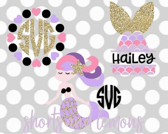 mermaid svg, MERMAID monogram svg, mermaid shirt, svg bundle, svg, dxf, eps, mermaid tail svg, frame svg, birthday svg, shortsandlemons